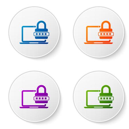 Portátil de color con notificación de contraseña e icono de candado sobre fondo blanco. Concepto de seguridad, acceso personal, autorización de usuario, formulario de inicio de sesión. Establecer iconos en botones de círculo. Ilustración vectorial