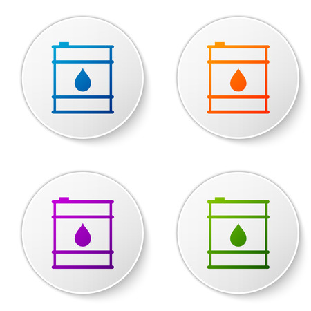 Color Oil barrel line icon isolated on white background. Oil drum container. For infographics, fuel, industry, power, ecology. Set icons in circle buttons. Vector Illustration Ilustração