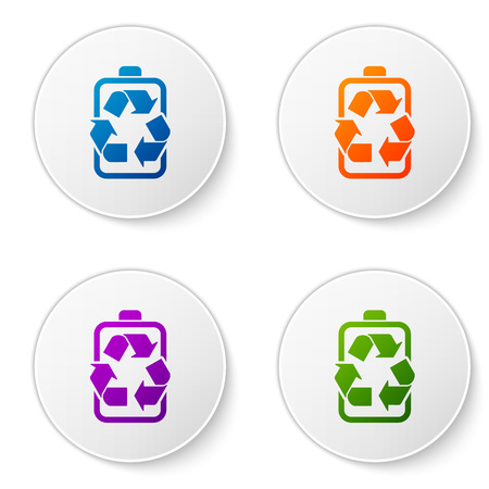 Color Battery with recycle symbol line icon isolated on white background. Battery with recycling symbol - renewable energy concept. Set icons in circle buttons. Vector Illustration Illustration