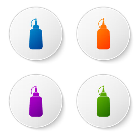 Color Mustard bottle icon isolated on white background. Set icons in circle buttons. Vector Illustration