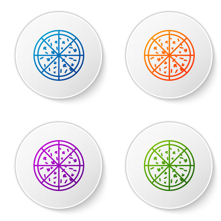 Color Pizza icon isolated on white background. Set icons in circle buttons. Vector Illustration 矢量图像