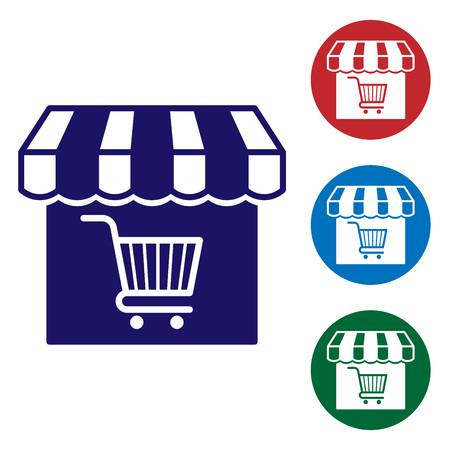 Blue Shopping building or market store with shopping cart icon isolated on white background. Shop construction. Supermarket basket symbol. Set color icon in circle buttons. Vector Illustration