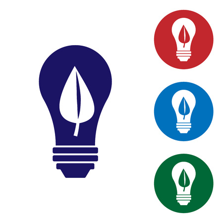Blue Light bulb with leaf icon isolated on white background. Eco energy concept. Alternative energy concept. Set color icon in circle buttons. Vector Illustration