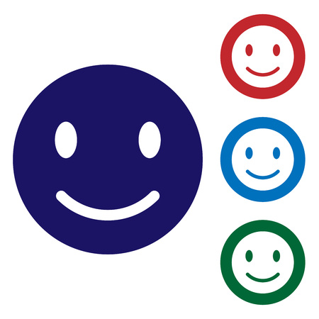 Blue Smile face icon isolated on white background. Smiling emoticon. Happy smiley chat symbol. Set color icon in circle buttons. Vector Illustration