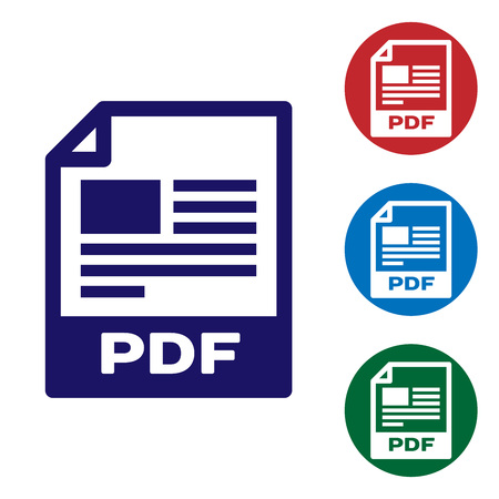 Blue PDF file document icon. Download pdf button icon isolated on white background. PDF file symbol. Set color icon in circle buttons. Vector Illustration