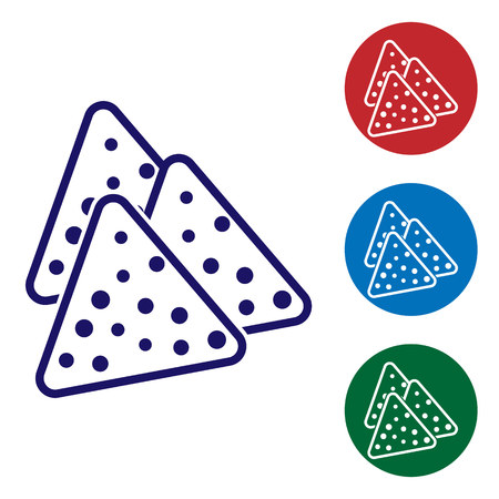 Blue Nachos icon isolated on white background. Tortilla chips or nachos tortillas. Traditional mexican fast food. Set color icon in circle buttons. Vector Illustration