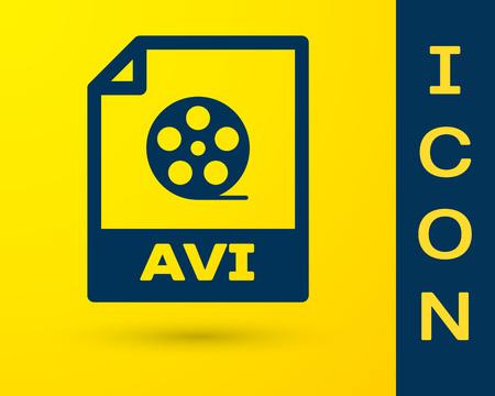 Blue AVI file document icon. Download avi button icon isolated on yellow background. AVI file symbol. Vector Illustration
