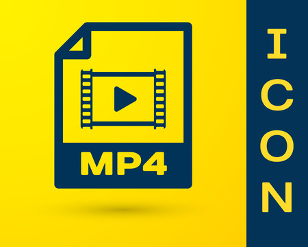 Blue MP4 file document icon. Download mp4 button icon isolated on yellow background. MP4 file symbol. Vector Illustration Vector Illustration