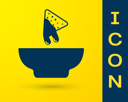 Blue Nachos in plate icon isolated on yellow background. Tortilla chips or nachos tortillas. Traditional mexican fast food. Vector Illustration