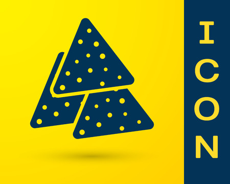 Blue Nachos icon isolated on yellow background. Tortilla chips or nachos tortillas. Traditional mexican fast food. Vector Illustration