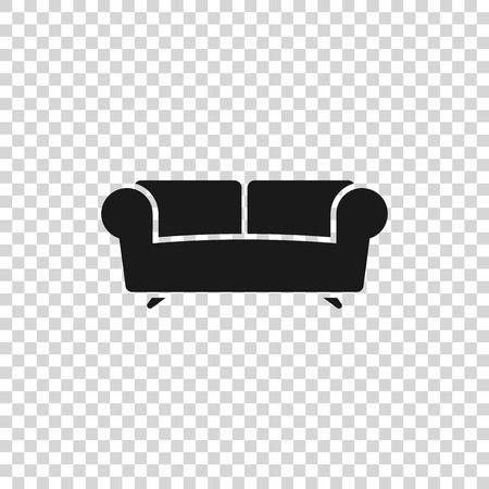 Grey Sofa icon isolated on transparent background. Vector Illustration