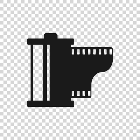 Grey Camera vintage film roll cartridge icon isolated on transparent background. Film reel icon. 35mm film canister. Filmstrip photographer equipment. Vector Illustration