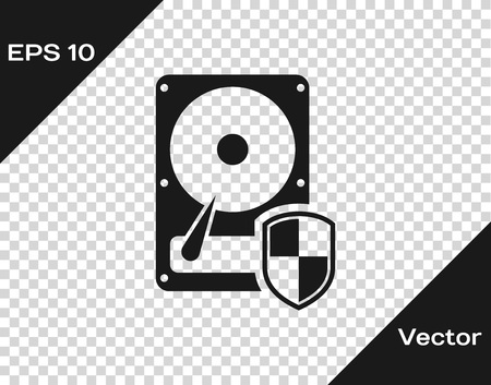 Grey Hard disk drive HDD protection icon isolated on transparent background. Vector Illustration