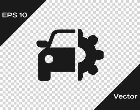 Grey Car service icon isolated on transparent background. Auto mechanic service. Mechanic service. Repair service auto mechanic. Maintenance sign. Vector Illustration