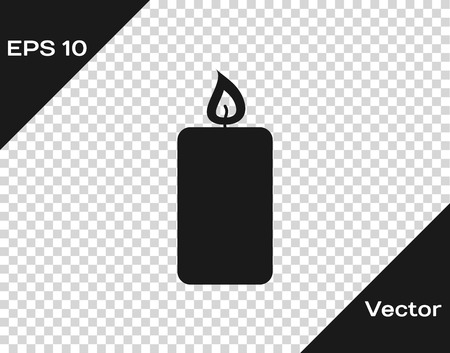 Grey Burning candle icon isolated on transparent background. Old fashioned lit candle. Cylindrical aromatic candle stick with burning flame. Vector Illustration Иллюстрация
