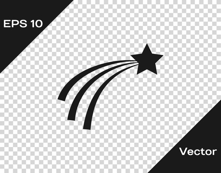 Grey Falling star icon isolated on transparent background. Shooting star with star trail. Meteoroid, meteorite, comet, asteroid, star icon. Vector Illustration