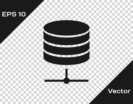 Grey Server, Data, Web Hosting icon isolated on transparent background. Vector Illustration