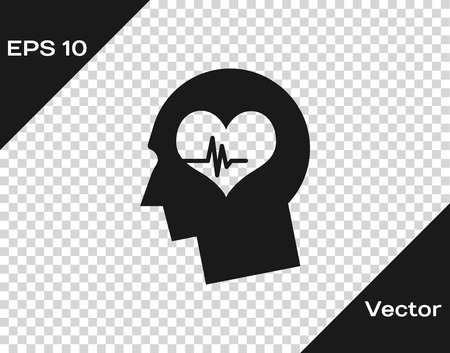 Grey Male head with a heartbeat icon isolated on transparent background. Head with mental health, healthcare and medical sign. Vector Illustration