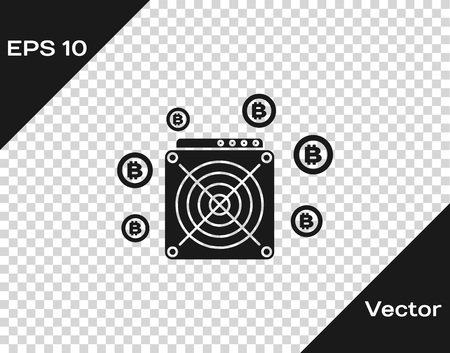 Grey ASIC Miner icon isolated on transparent background. Cryptocurrency mining equipment and hardware. Application specific integrated circuit. Vector Illustration