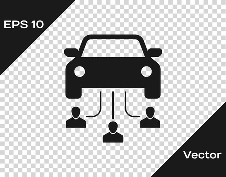 Grey Car sharing with group of people icon isolated on transparent background. Carsharing sign. Transport renting service concept. Vector Illustration Vektorové ilustrace