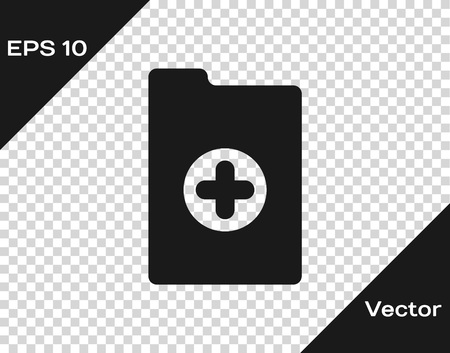 Grey Medical clipboard with clinical record icon isolated on transparent background. Health insurance form. Prescription, medical check marks report. Vector Illustration