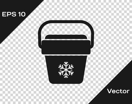 Grey Cooler bag icon isolated on transparent background. Portable freezer bag. Handheld refrigerator. Vector Illustration