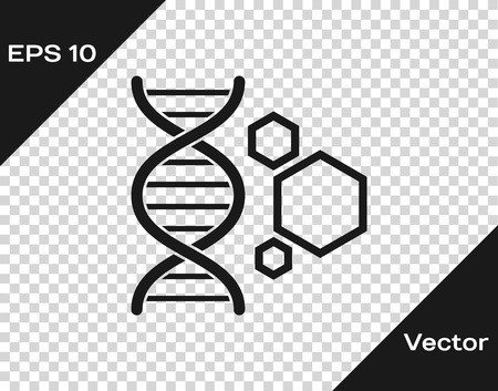 Grey Genetic engineering icon isolated on transparent background. DNA analysis, genetics testing, cloning, paternity testing. Vector Illustration
