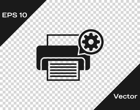 Grey Printer and gear icon isolated on transparent background. Adjusting app, service concept, setting options, maintenance, repair, fixing. Vector Illustration