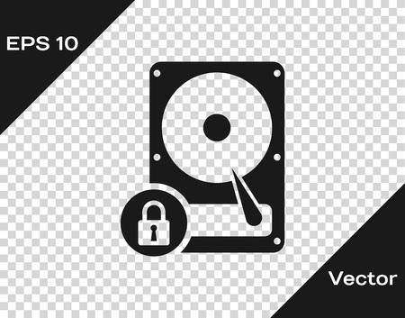 Grey Hard disk drive and lock icon isolated on transparent background. HHD and padlock. Security, safety, protection concept. Vector Illustration