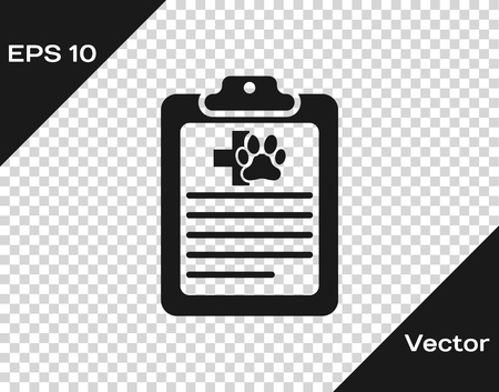 Grey Clipboard with medical clinical record pet icon isolated on transparent background. Health insurance form. Medical check marks report. Vector Illustration Vettoriali