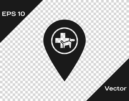Grey Map pointer with veterinary medicine hospital, clinic or pet shop for animals icon isolated on transparent background. Vet or veterinarian clinic. Vector Illustration