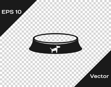 Grey Pet food bowl for cat or dog icon isolated on transparent background. Vector Illustration