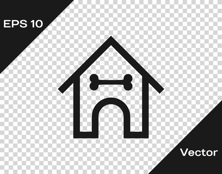 Grey Dog house and bone icon isolated on transparent background. Dog kennel. Vector Illustration