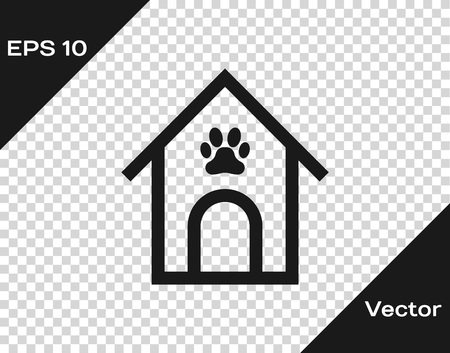 Grey Dog house and paw print pet icon isolated on transparent background. Dog kennel. Vector Illustration
