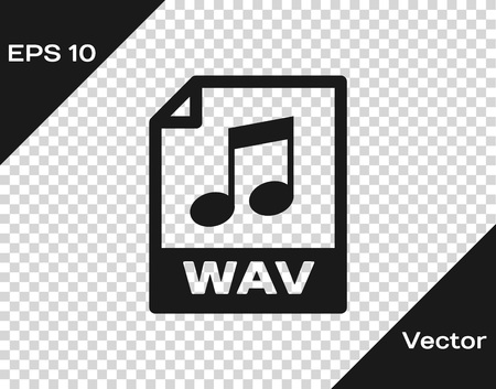 Grey WAV file document icon. Download wav button icon isolated on transparent background. WAV waveform audio file format for digital audio riff files. Vector Illustration