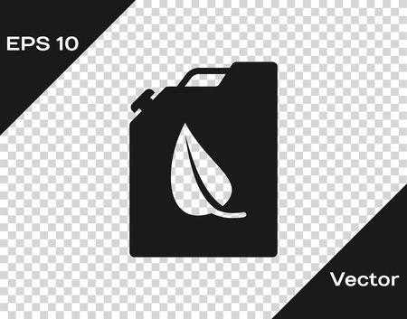 Grey Bio fuel canister icon isolated on transparent background. Eco bio and barrel. Green environment and recycle. Vector Illustration Illustration