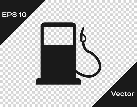 Grey Petrol or Gas station icon isolated on transparent background. Car fuel symbol. Gasoline pump. Vector Illustration