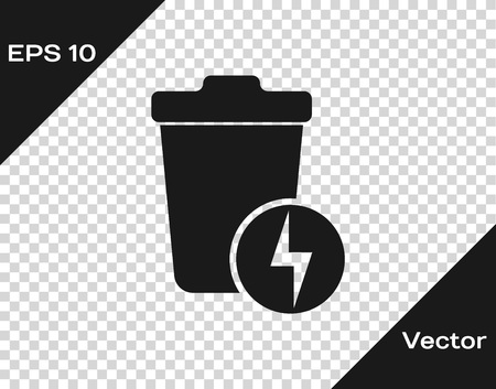 Grey Lightning with trash can icon isolated on transparent background. Waste to energy. Garbage bin sign. Recycle basket sign. Vector Illustration