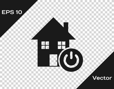 Grey Smart home icon isolated on transparent background. Remote control. Vector Illustration Çizim