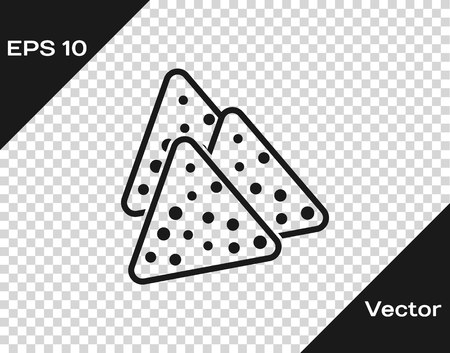 Grey Nachos icon isolated on transparent background. Tortilla chips or nachos tortillas. Traditional mexican fast food. Vector Illustration