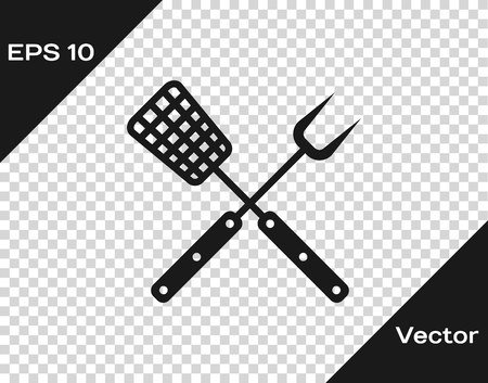 Grey Crossed fork and spatula icon isolated on transparent background. BBQ fork and spatula sign. Barbecue and grill tools. Vector Illustration