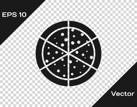 Grey Pizza icon isolated on transparent background. Vector Illustration