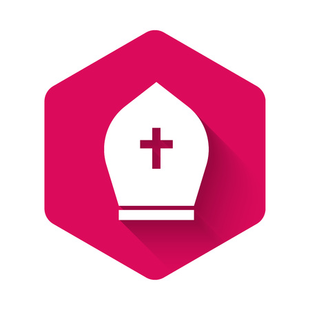 White Pope hat icon isolated with long shadow. Christian hat sign. Pink hexagon button. Vector Illustration