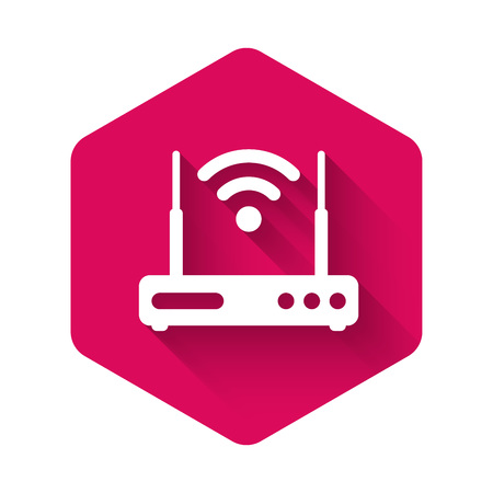 White Router and wi-fi signal symbol icon isolated with long shadow. Wireless ethernet modem router. Computer technology internet. Pink hexagon button. Vector Illustration