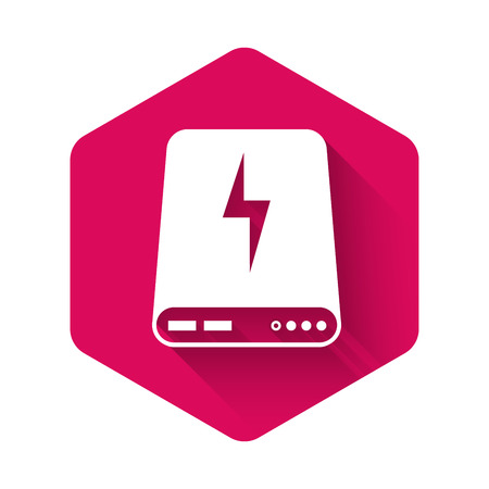 White Power bank icon isolated with long shadow. Portable charging device. Pink hexagon button. Vector Illustration