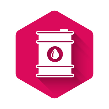 White Barrel oil icon isolated with long shadow. Pink hexagon button. Vector Illustration