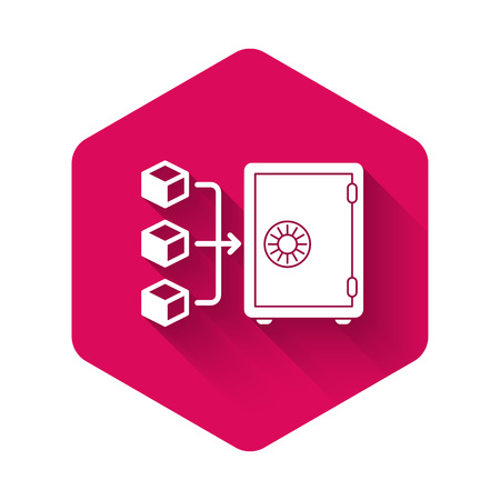 White Proof of stake icon isolated with long shadow. Cryptocurrency economy and finance collection. Pink hexagon button. Vector Illustration
