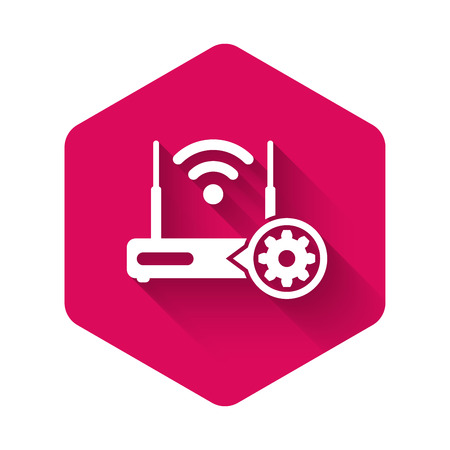 White Router and wi-fi signal and gear icon isolated with long shadow. Adjusting app, service concept, setting options, maintenance, repair, fixing. Pink hexagon button. Vector Illustration