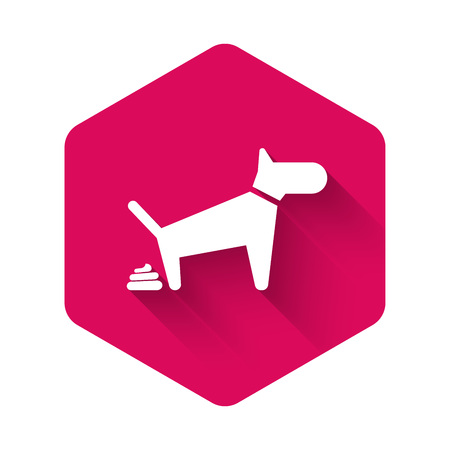 White Dog pooping icon isolated with long shadow. Dog goes to the toilet. Dog defecates. The concept of place for walking pets. Pink hexagon button. Vector Illustration