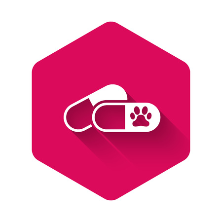 White Dog and pills icon isolated with long shadow. Prescription medicine for animal. Pink hexagon button. Vector Illustration